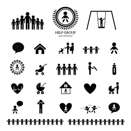 crying child: children action welfare stick figure icon
