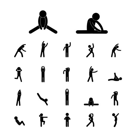 body exercise stick figure icon Vector