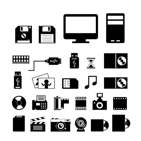 vector computer and storage icons set