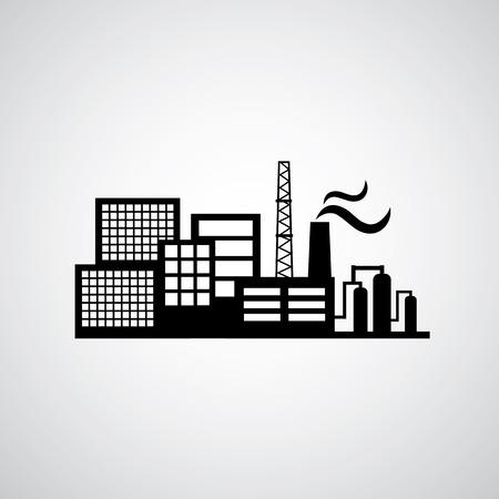 industria quimica: icono de fábrica industrial sobre el fondo gris Vectores
