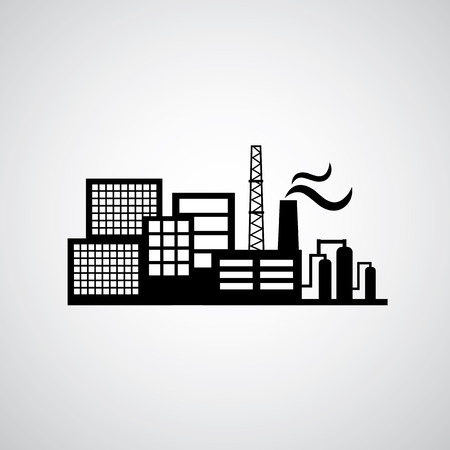 industrial buildings factory: industrial factory icon on gray background