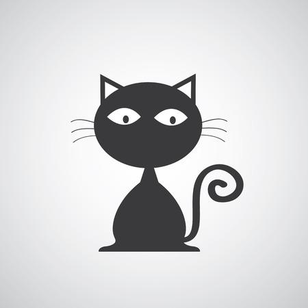 cat: vector black cat cartoon symbol