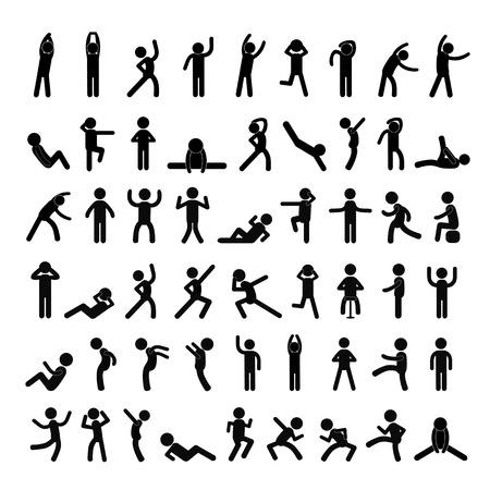 sit up: action people symbol set on white background