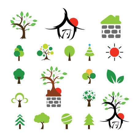 vector house and tree symbol set Vector