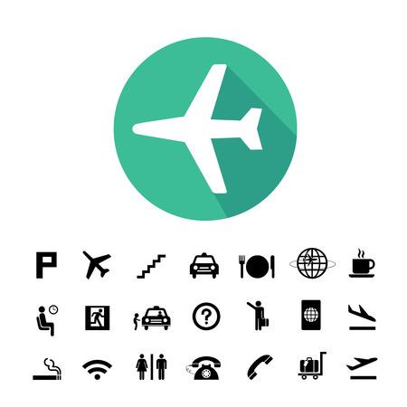 Vektor-Grundsymbol Für Den Flughafen Eingerichtet Lizenzfrei ...