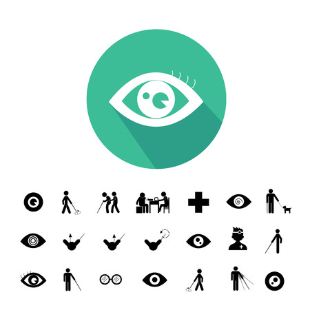 see a doctor: blind man and hospital icon set