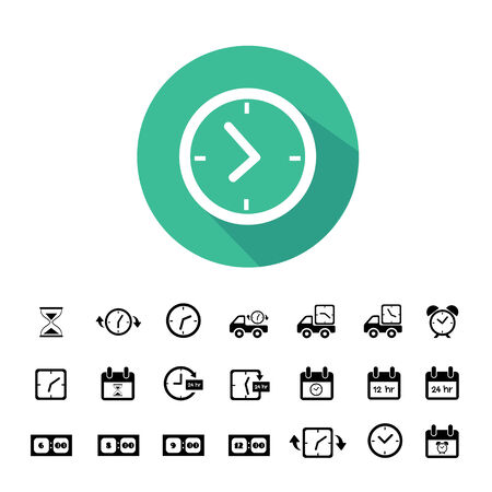 clock face: delivery and time vector icons set Illustration