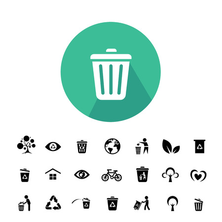 reduce reuse recycle: recycle and environment vector icon set