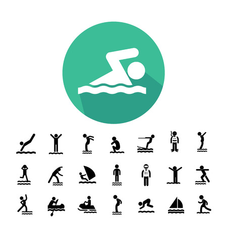 diving board: water sport vector icon set Illustration