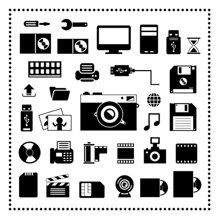 vector computer and storage icons set Vector