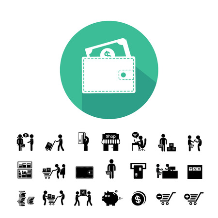 shoping bag: shopping and delivery icon set