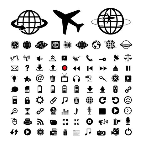 plane and globe vector icons set