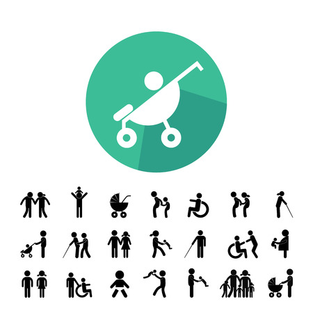 black family: happy family vector icon set Illustration
