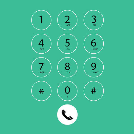 dial pad: vector flat keypad for phone on green background Illustration