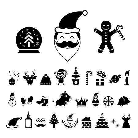 vector christmas day icon set Vector