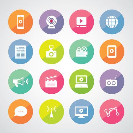 media symbol set for use Illustration