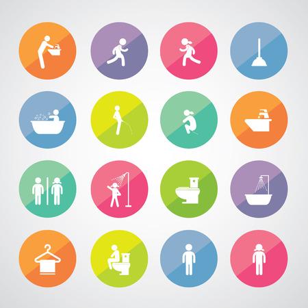 excrete: toilet and hygiene icons set