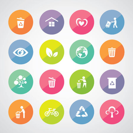 recycle and environment vector icon set Vector