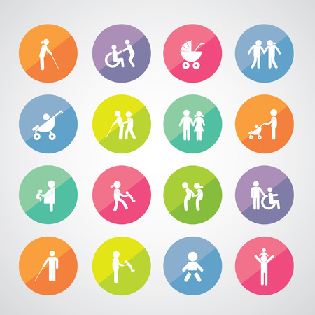 happy family vector icon set 矢量图像