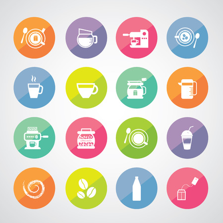 cup and coffee vector icon set