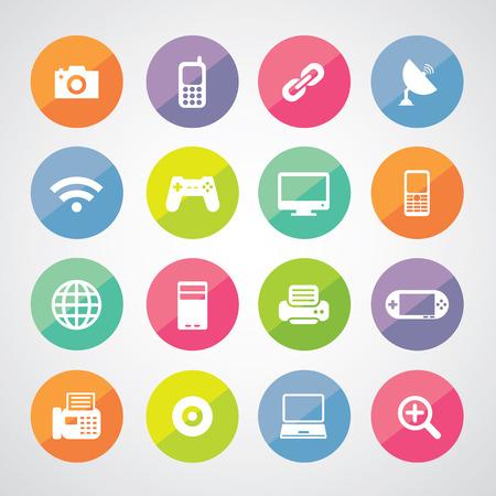 desktop printer: vector icon technology set for use