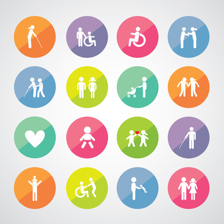 physical impairment: Family icon set for use