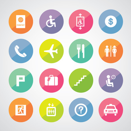 Airport icons set for use Vector