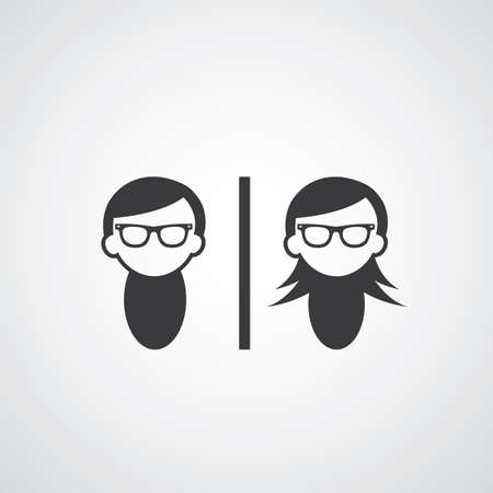 hairdo: symbol  man and woman glasses style