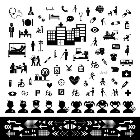 patient doctor: doctor and hospital icon set