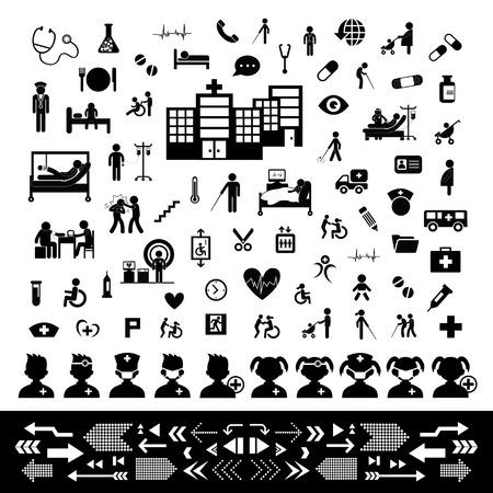 enfermera caricatura: m�dico y hospital icono conjunto Vectores