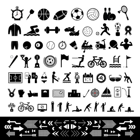 basic sports icon set 矢量图像