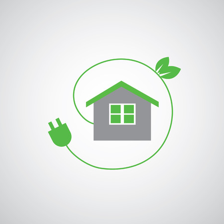 save electricity: green home power efficiency vector icon Illustration