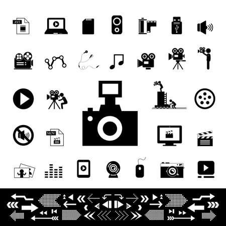 slate film: movie and media vector icon set