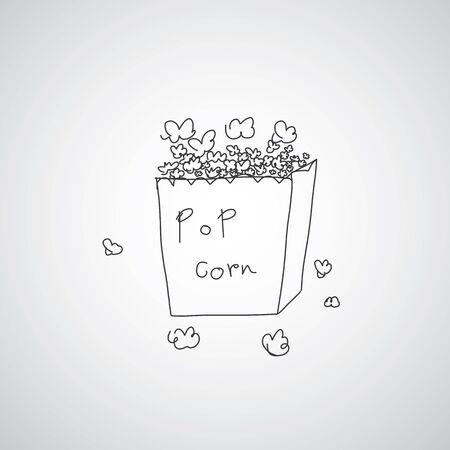 popcorn: popcorn  hand drawn vector cartoon Illustration