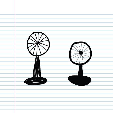 hand drawn cartoon: de dibujos animados vector dibujado mano del ventilador