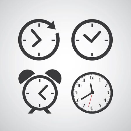 time clock: Time icon on gray background