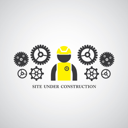 industrial construction: site under construct vector symbol Illustration