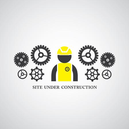 seguridad industrial: sitio bajo construcción símbolo vector Vectores