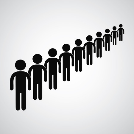 waiting in line: Long queue symbol vector format