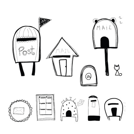 respond: doodle style mailbox and post box vector format