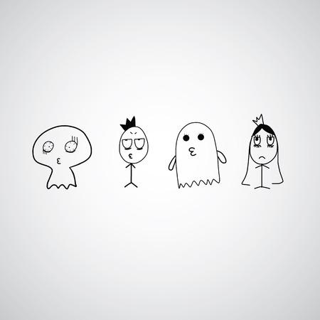 cute ghost: cute ghost vector hand drawn cartoon