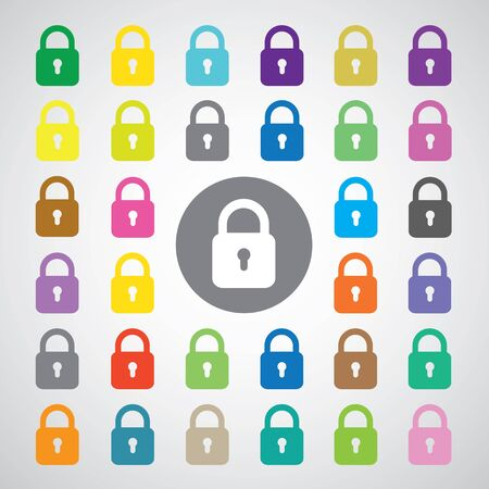 lock symbol: basic vector lock symbol set Illustration
