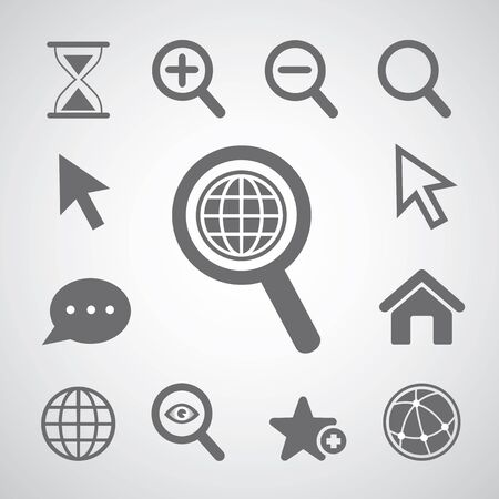 vector magnification icon for searching web Illustration