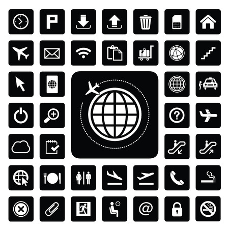 vector basic icon set for airport Illustration
