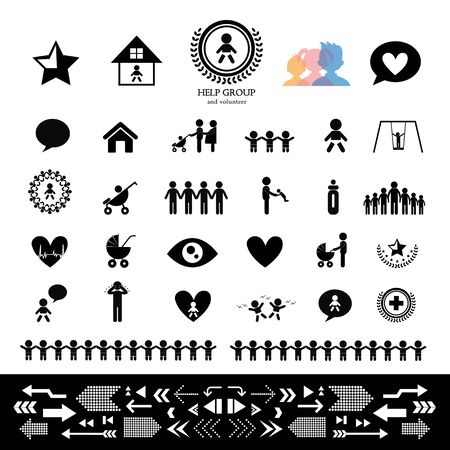 strichmännchen: Kinder Aktion Sozialstrichmännchen Symbol