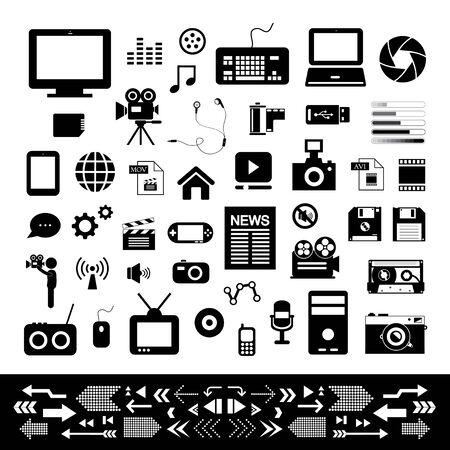 media and technology basic icon set Vector