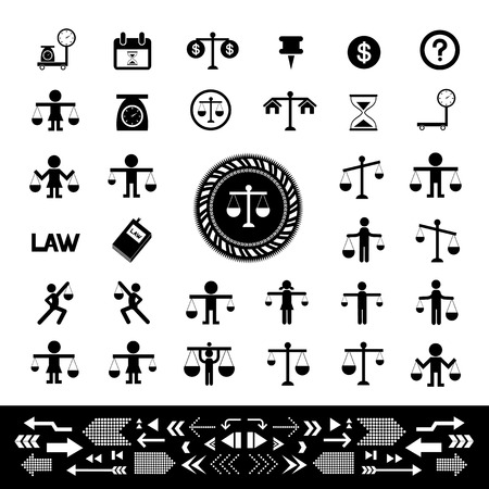 acquittal: scales justice vector  icon set