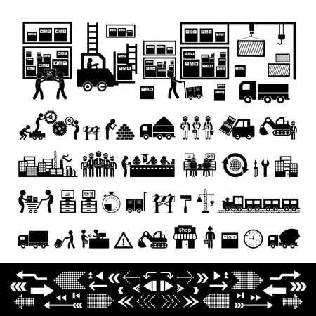fabrikant en distributeur pictogram voor bedrijfssysteem Vector Illustratie