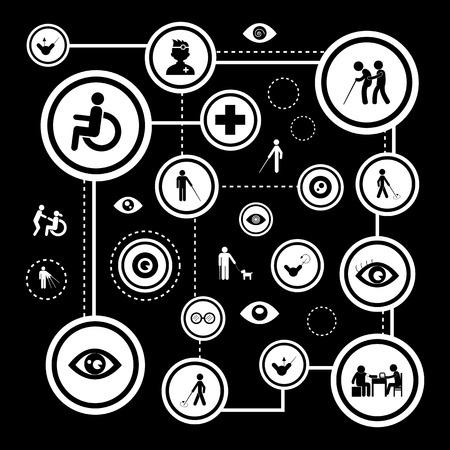 blind man: blind man and hospital icon set