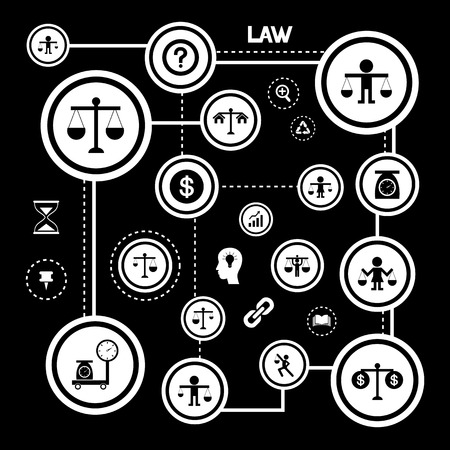 scales of justice: scales justice vector icon set